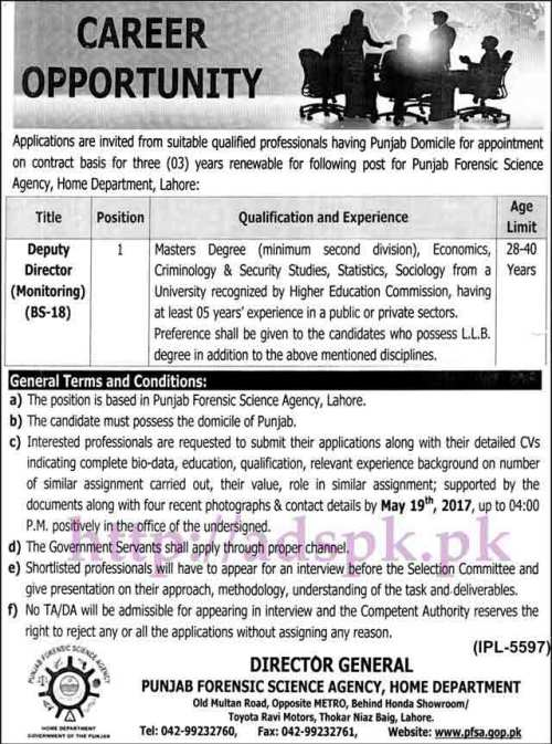 New Jobs Punjab Forensic Science Agency Home Department Lahore Jobs 2017 for Deputy Director Monitoring Jobs Application Deadline 19-05-2017 Apply Now