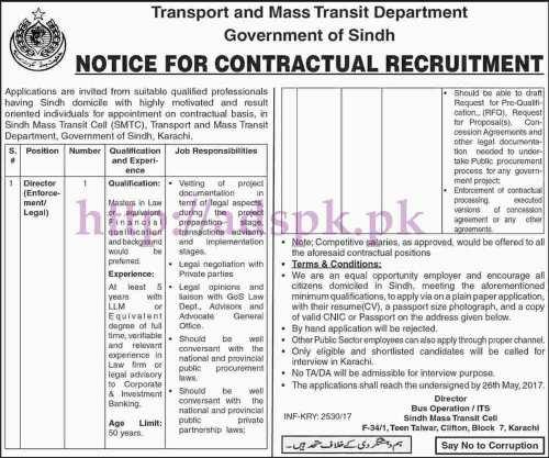 New Jobs Transport and Mass Transit Department Govt. of Sindh Karachi Jobs 2017 for Director Enforcement & Legal Jobs Application Deadline 26-05-2017 Apply Now