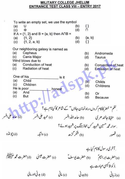 New MCQs/ Subjective Sample Papers English Urdu Math Islamic Studies 2017-18 for Military College Jhelum Entrance Test Class 8th Must Prepare Now