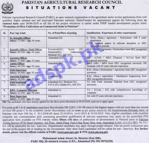 PARC Olive Cultivation Project Jobs 2018 PTS Written Test MCQs Syllabus Paper Scientific Officers Accounts Officer Admin Officer Field Supervisor Associate Engineer Field Facilitator Computer Operator Store Supervisor Jobs Application Form Deadline 17-11-2018 Apply Now
