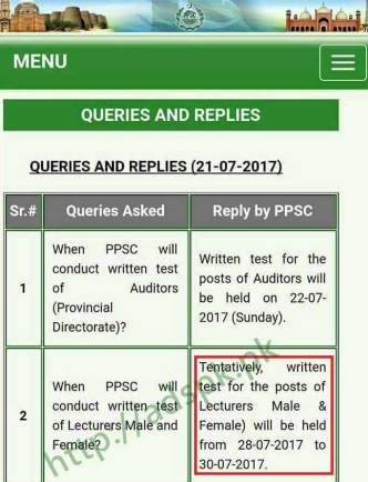 PPSC Lecturer Written Test Schedule 2017 Male Female Lecturers Tentatively Written Test will be held from 28-07-2017 to 30-07-2017 by PPSC Official Website