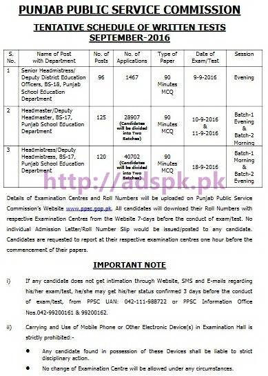 PPSC New Tentative Schedule of Written Tests September-2016 for Senior Headmistress/Deputy District Education Officers Headmaster/Deputy Headmaster Headmistress/Deputy Headmistress in Punjab School Education Department Written Test MCQs Paper from 09-09-2016 to 18-09-2016 by Punjab Public Service Commission Lahore