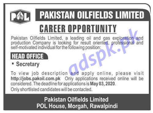 Pakistan Oilfields Limited POL Head Office Rawalpindi Jobs 2020 for Secretary Jobs Application Deadline 03-05-2020 Apply Online Now