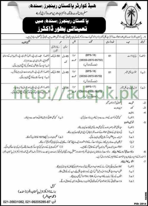 Pakistan Rangers Sindh Karachi Jobs 2018 Specialist Doctor Medical Officer Jobs Application Form Deadline 13-02-2018 Apply Now