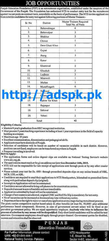 New Jobs Punjab Education Foundation PEF Jobs 2015 for Various New Master Trainers Jobs 20 District of Punjab NTS Last Date 14-12-2015 Apply Now