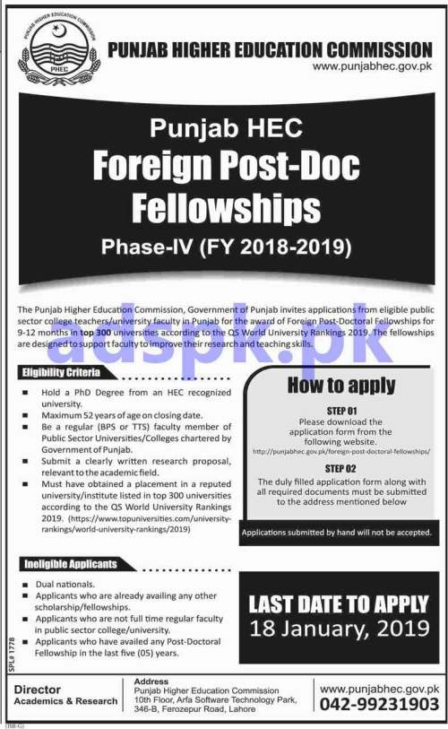 Punjab HEC Foreign Post-Doctoral Fellowships Phase-IV (FY 2018-2019) Application Form Deadline 18-01-2019 Apply Online Now