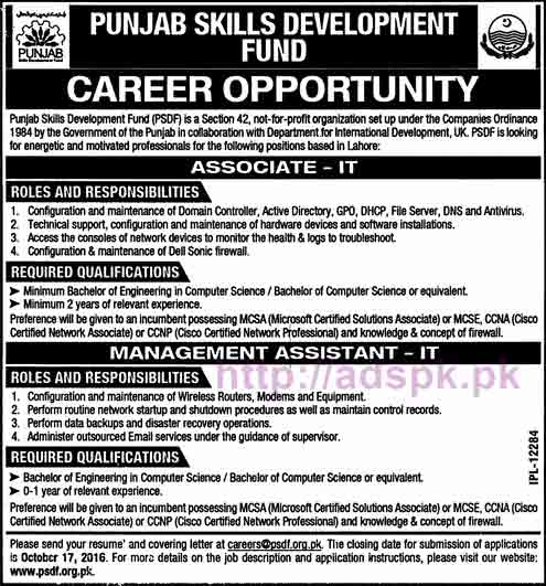 Punjab Skills Development Fund New Career Jobs for Associate I.T and Management Assistant I.T Application Deadline 17-10-2016 Apply Now