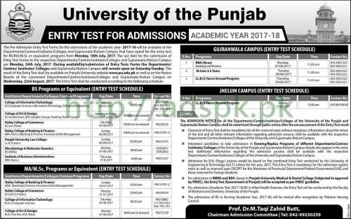 Punjab University Lahore Entry Test Schedule 2017-18 for BS M.A M.Sc LL.B Programs Apply Now