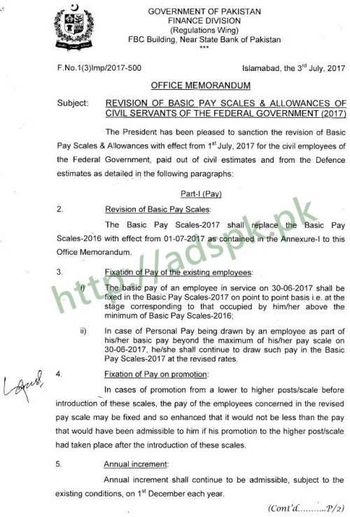 Finance Division Notification Revision of Basic Pay Scales & Allowances of Civil Servants of the Federal Government 2017