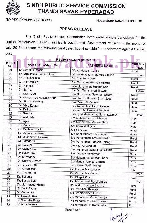 SPSC Latest Interview Result Jobs for Pediatrician (BPS-18) in Health Department Govt. of Sindh Results Updated on 01-08-2016 by Sindh Public Service Commission