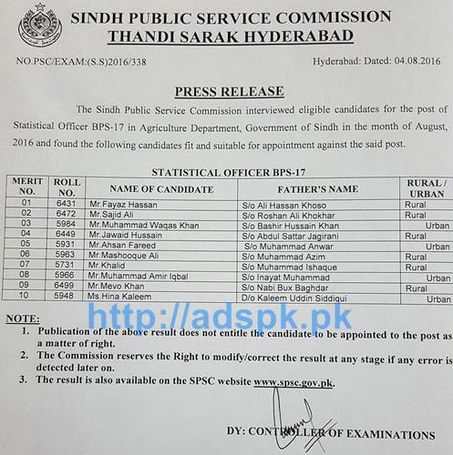SPSC Latest Interview Results Jobs for Statistical Officer BPS-17 in Agriculture Department Government of Sindh Results Updated on 04-08-2016 by Sindh Public Service Commission