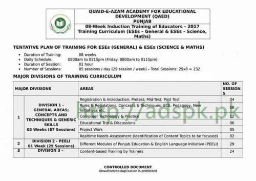 08 Week Induction Training of Educators 2017 for ESEs (General) & ESEs (Science & Math) Important Training Curriculum Notification about New Educators Recruitment 2017 Complete Training Time Table by Quaid-e-Azam Academy for Educational Development (QAED) Punjab