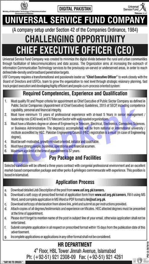 Universal Service Fund Company USF Islamabad Jobs 2020 for Chief Executive Officer (CEO) Jobs Application Form Deadline 12-05-2020 Apply Now