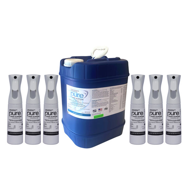 PURE Hard Surface Disinfectant 5-gallon+6-Spray Kill Coronavirus
