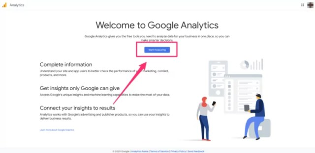Google Analytics home page overview