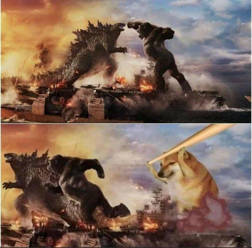 Godzilla and Doge meme templates