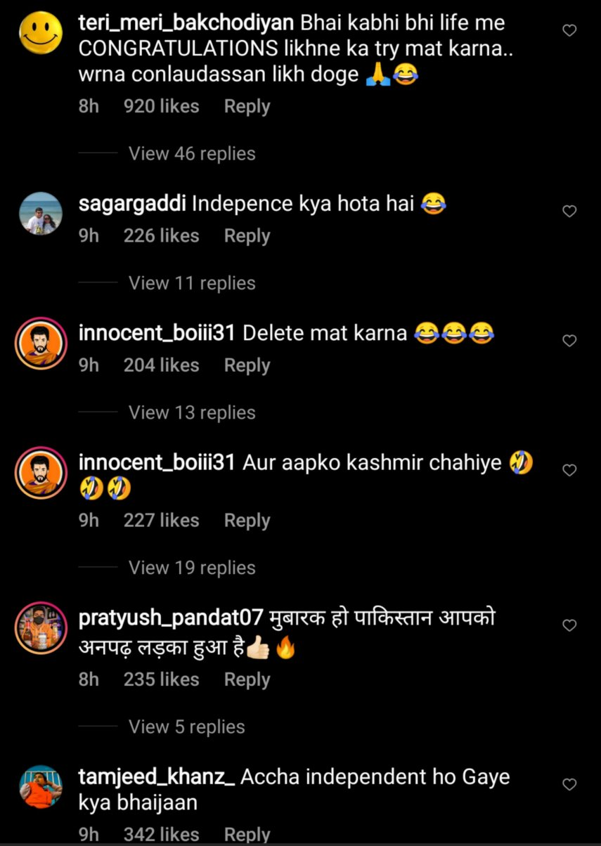 Funny Comments on Kamran's Instagram post
