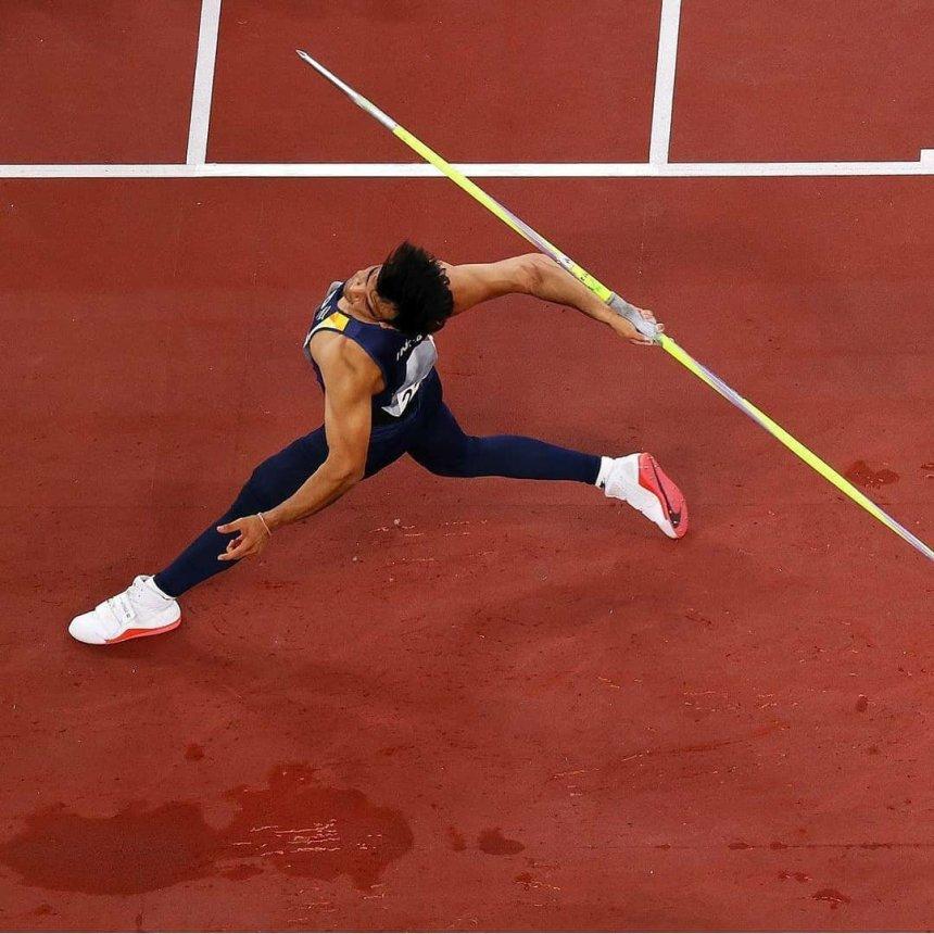 Javelin throw by Neeraj Chopra
