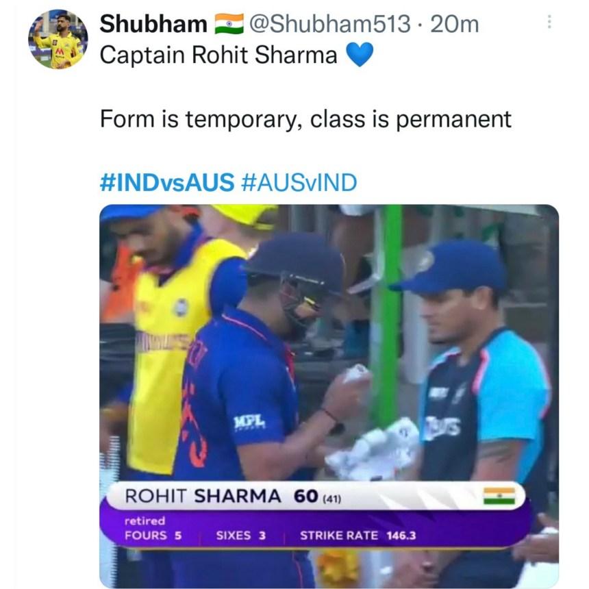 Rohit sharma scored 60 runs against Australia