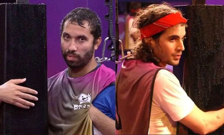 Gilberto e Fiuk se enfrentaram na última prova do BBB21 (Reprodução/TVGlobo)