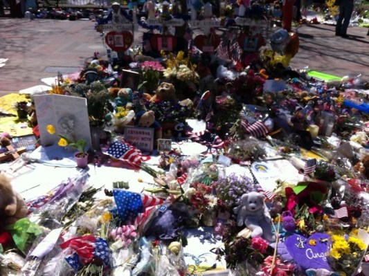 Flowers and messages of support for deceased Boston bombing victims. Photo curtesy to Alicia Guajardo
