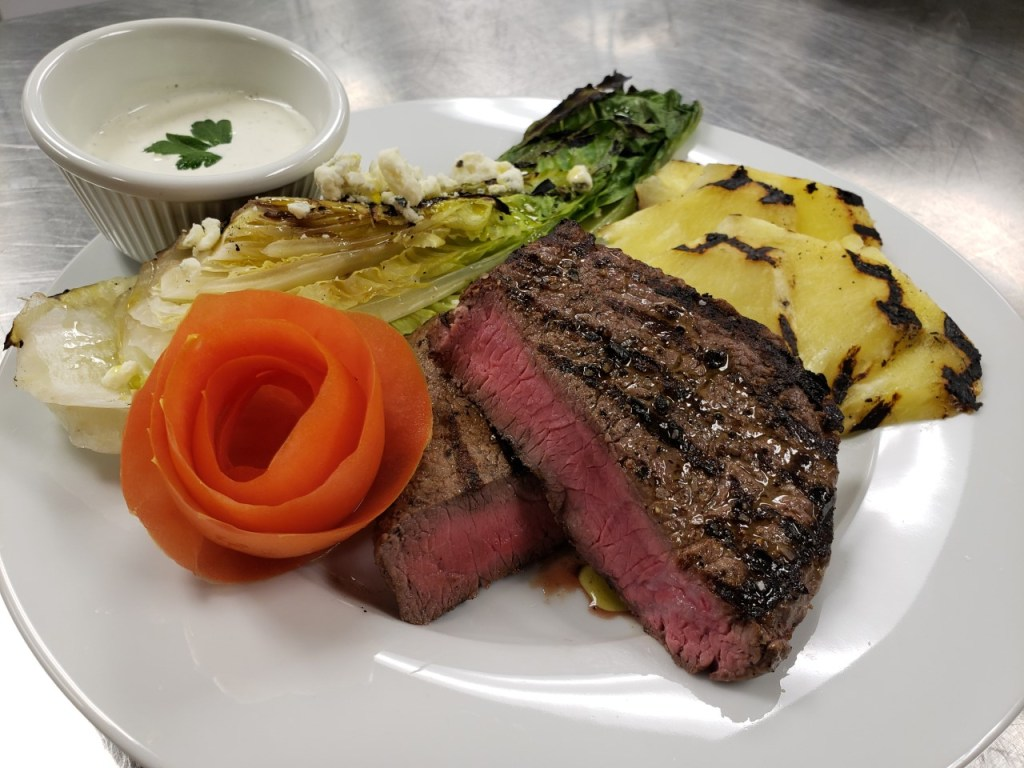 Steak with Grilled Lettuce and Pineapple
