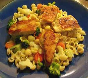 Chicken, Pasta and Vegetables on a plate