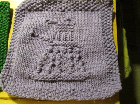 This is a dishrag, with a Dalek knitted into it.  You won't use it to do laundry, but you might need to wash it eventually.  Here's how.
