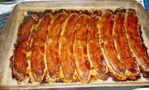 Bacon just out of the oven