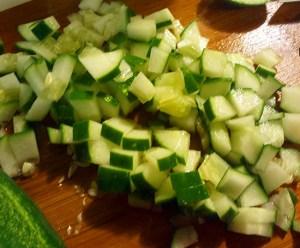 Cucumbers diced