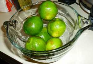 Limes in microwave safe bowl