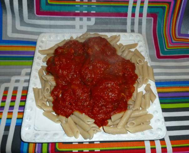 Quick-ish Marinara with Meatballs and Gluten Free Penne