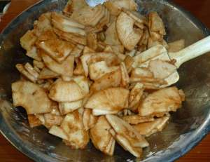 Dry ingredients mixed with apples