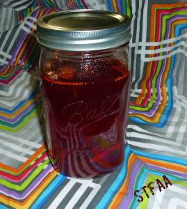Cranberry mixture, spices, and vodka steeping
