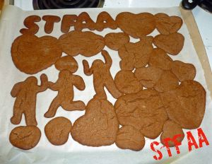 Cookies placed too closely and rolled too thick - A friend noted it looked like a cave made of hearts collapsing on the men, haha!