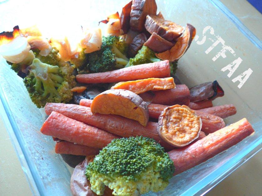 A slightly depleted batch of roasted veg for the week