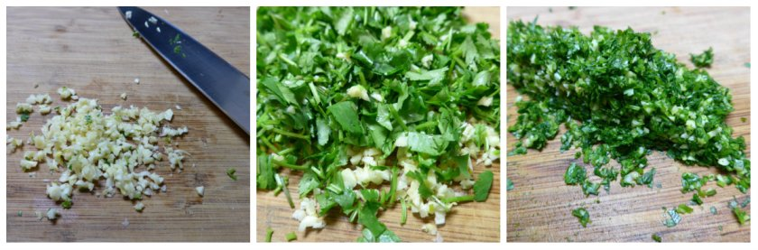 cilantro garlic blending stages