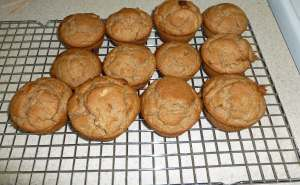 Apple Cinnamon Muffins cooling on a rack