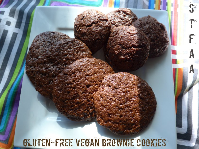 Gluten-free vegan brownie cookies -- cashew cookies on the left, almond cookies on the right