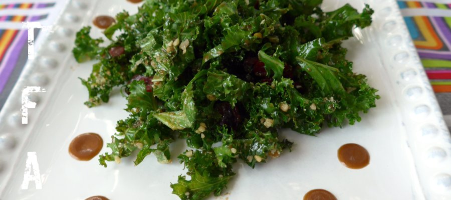 A white plate on a multicolored background holds a pile of green shredded kale with dried cranberries and some drops of dressing