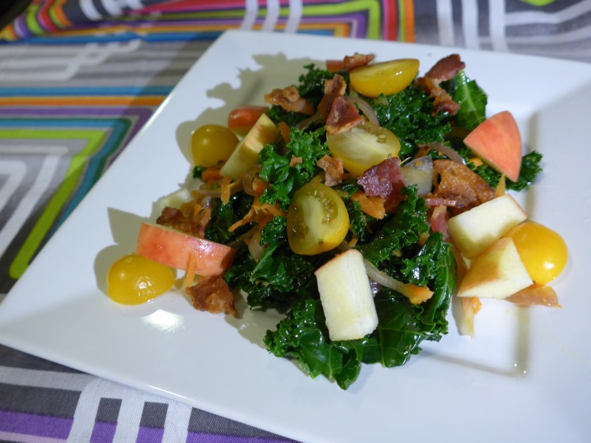 warm kale & bacon salad