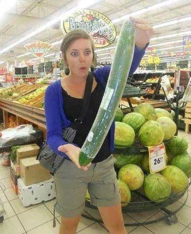 Woman Shopping Finds BIG Cucumber