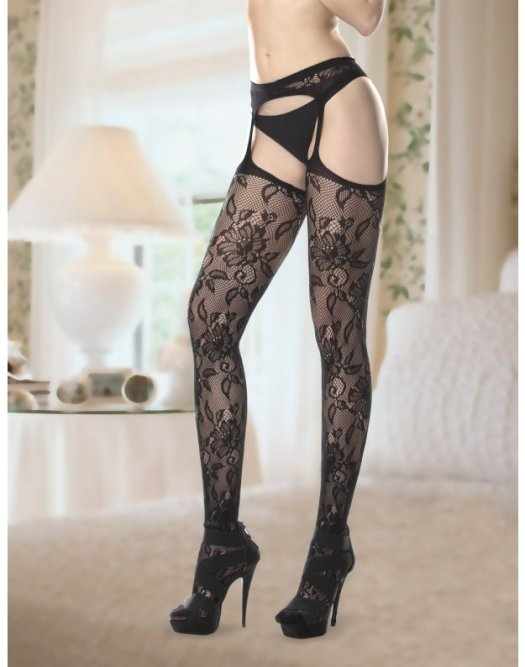 Lara Seamless Garter Stocking in Black Image