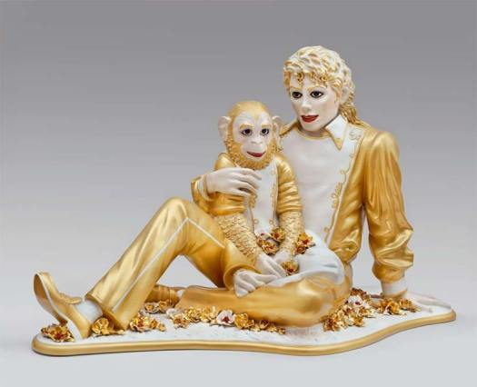 Golden sculpture of Micheal Jackson & Bubbles