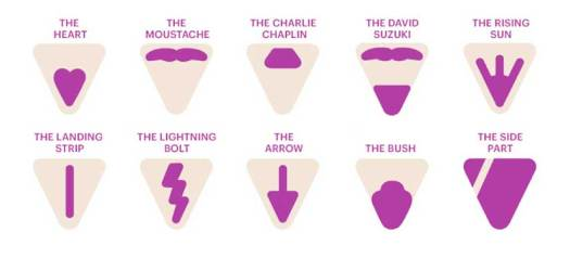 Different designs for pubic hair