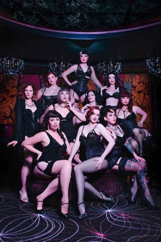 Group photo of Bombshell Burlesque performers