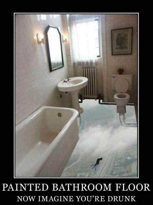 A bathroom floor painted with the sky