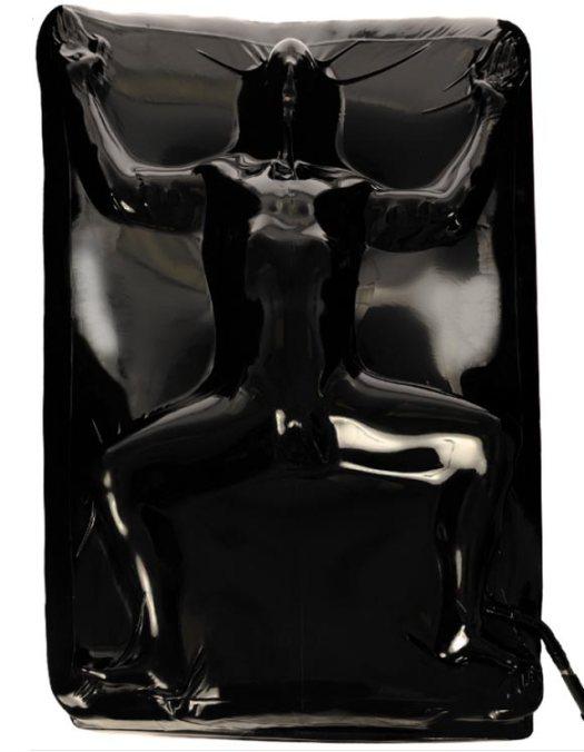 BDSM latex bed restraint