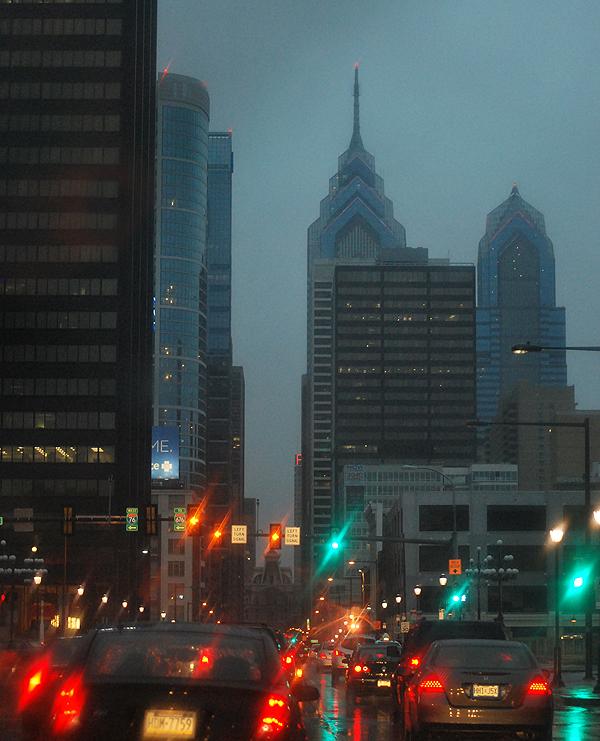 Philadelphia, night before the Hurricane Sandy