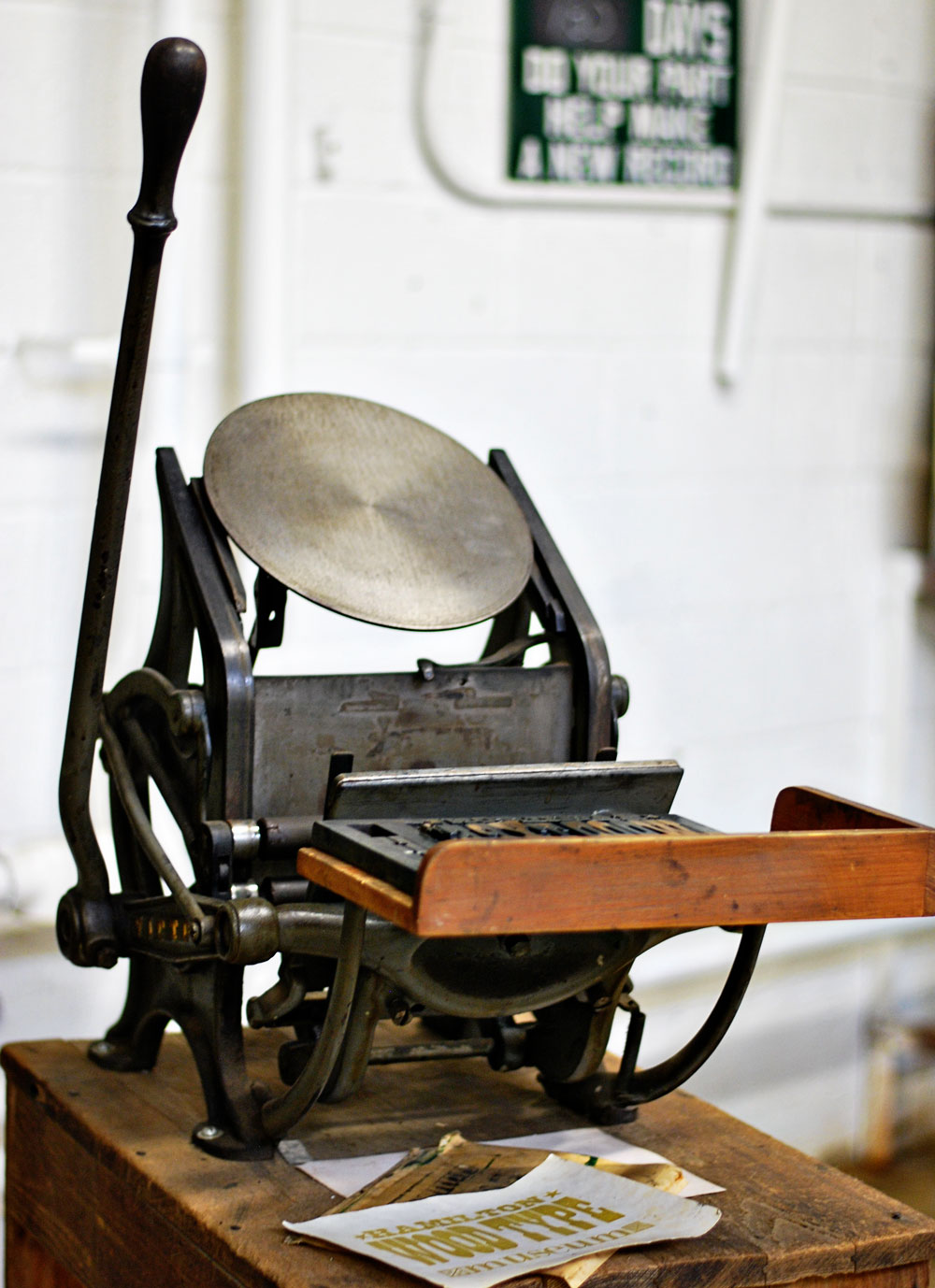 Letterpress printer at Hamilton Wood Type and Printing Museum, Two Rivers, WI